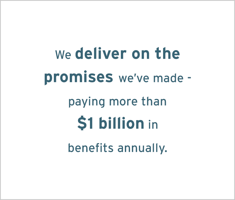 Image with words: We deliver on the promises we've made - paying more than $1 billion annually.