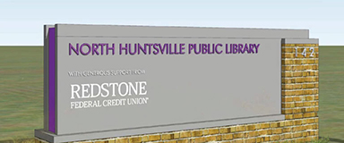 Concept sign for a library supported by Redstone Federal Credit Union