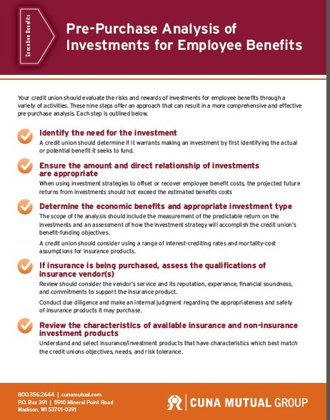 Pre-Purchase Analysis of Investments for Employee Benefits thumbnail
